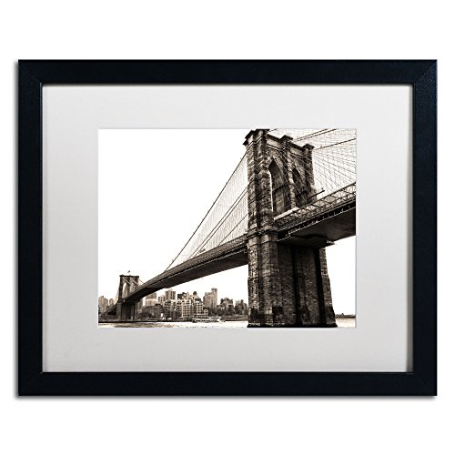 Brooklyn Bridge 2 White Matte Artwork by CATeyes, 16 by 20-Inch, Black Frame