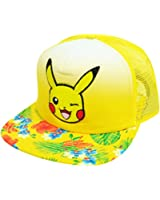 Nintendo Pokemon Pikachu Flowers Pattern Yellow Mesh Flat Bill Snapback Hat Cap