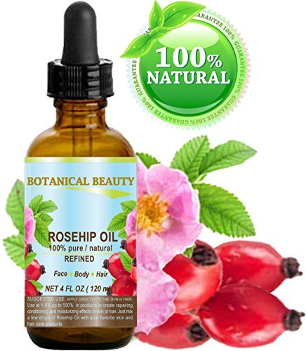 ROSEHIP OIL 100% Pure / Natural /Refined / Undiluted for Face, Body, Hair and Nail Care. 4 Fl.oz.- 120 ml.