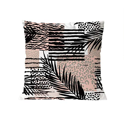 (Throw Pillow Covers, Jessie storee Turtle Leaf Plumeria Feather Leopard Pillowcase Plant Floral Printed Pillowslip Sofa Office Car Pillow Super Soft Backrest Cover 18x18 Inch 45x45 cm, C)