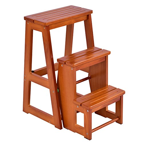 Wood Ships Ladder - (Ship from US) Multi-function Wood Step Stool Folding 3 Tier Ladder Chair Bench Seat Utility