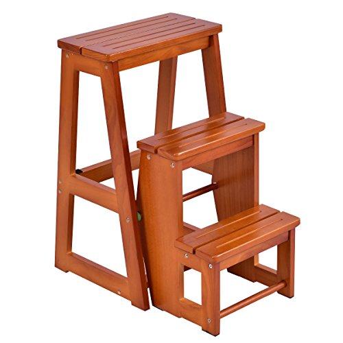 Costzon Folding Step Stool 3 Tier Wood Ladder (Nut-brown)