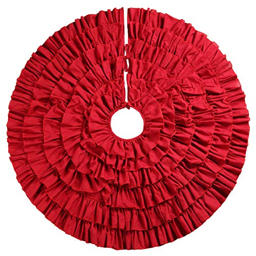 Ruffled Christmas Tree - JFeng 48 Inches Red Burlap Ruffled Christmas Tree Skirt Xmas Holiday Decoration for Gift Giving