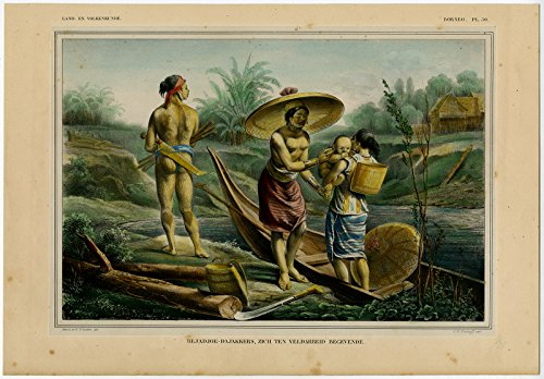 ThePrintsCollector Antique Print-BEJADJOE DAJAK PEOPLE OF BORNEO-TATTOO-Temminck-1839 (Borneo Tattoo)