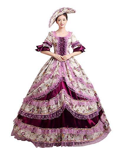 Zukzi Women's Prom Gothic Victorian Fancy Palace Masquerade Dresses, 1 Purple, Size 8