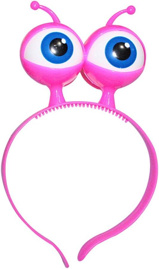 LUOEM Diadema de Halloween Flash Eyeball Hoop Bola de Fiesta Sombrero de Cabeza Broche con Big Eyes LED Diadema (Rosy)