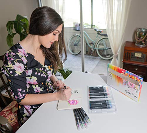 Sangria Pens - Real Brush Pens, 48 different Watercolor Paint Markers with Flexible Brush Tips, Great for Professionals, Painting, Coloring, Calligraphy and Drawing includes Aqua Brushes for Blending