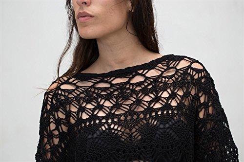JUANA LA LOCA AND THE VICTORIANS - Mujer jersey manga largo calado crochet sueter de punto , NEGRO, M