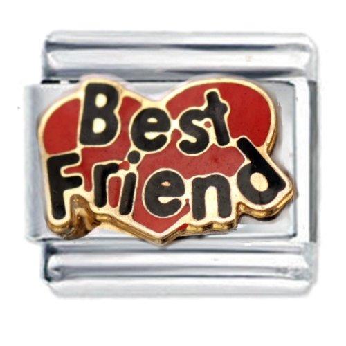 Best Friend Heart Enamel Italian Charm - fits Nomination Classic Bracelet -...