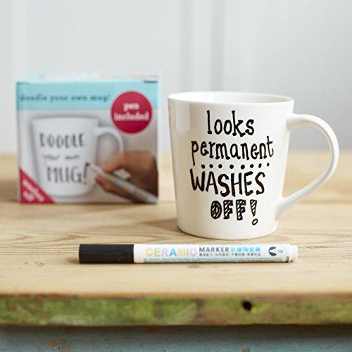 Doodle Mug, Draw and Color Your Own Mug, Coloring Mug with W