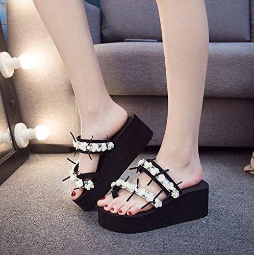Ajunr Moda/elegante/Transpirable/Sandalias Los dedos de los pies Toallas frescas Playa La Personalidad Zapatillas Simple Antideslizante 6cm talón pendiente,39 37