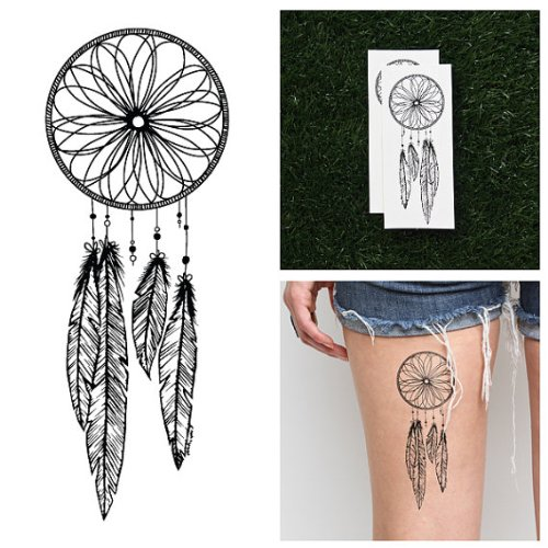 Amazon.com : Tattify Dreamcatcher Temporary Tattoo - Catch (Set of 2 ...