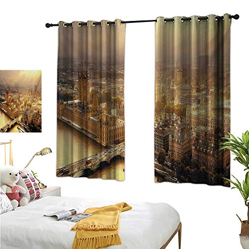Warm Family Curtain tiebacks Cityscape,Westminster Aerial View with Thames River and London Urban Cityscape Panoramic,Multicolor 84