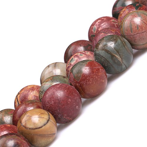 Natural Round Picasso Jasper Gemstone Loose Beads In Bulk Beads For Jewelry Making Wholesale Beads One Strand 15