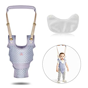 Baby Walking Harness, Adjustable Baby Walker Sit to Stand Learning Helper Mesh Breathable Hand-held Assistant with Detachable Crotch Safety Lifting & Pulling for Toddlers Infant Kids (Grey)