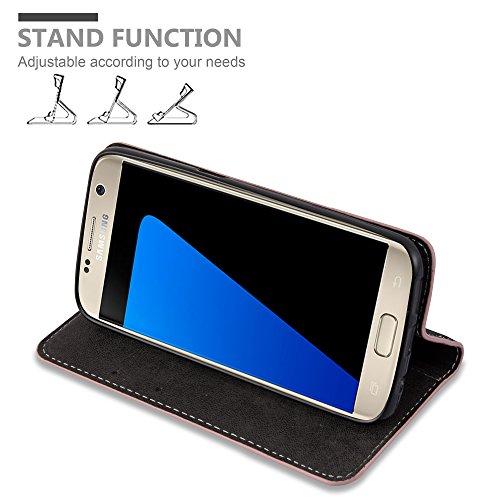 Cadorabo - Funda Estilo Book para Samsung Galaxy S7 (NON PARA EDGE) de Diseño gamuza-Artificial / Cuero-Artificial con Tarjetero, Función de Soporte y Cierre Magnético Invisible - Etui Case Cover Carc ROSA-ORO-NEGRO
