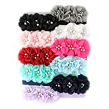 My Lello Girls Flower Headbands Fabric Beaded Trio Stretchy Elastic Variety Pack Classic Popular Colors 10 pcs