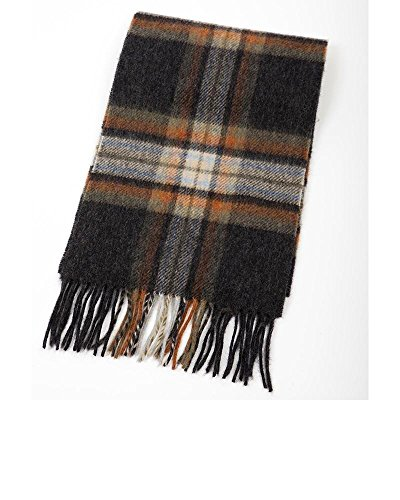 John Hanly 100% Wool Scarf Charcoal with Brown Orange (Wool Scarf Charcoal)
