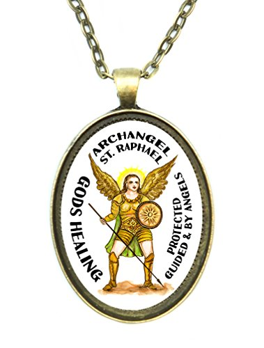 (St Raphael Patron Archangel of Gods Healing Huge 30x40mm Antique Bronze Gold Pendant with Chain Necklace)