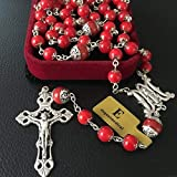 elegantmedical Handmade Red Coral Beads Catholic 5 Decade Rosary Necklace Cross Mens Womens Gifts