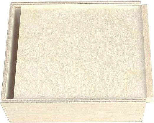 KF-Geschenke - Caja de madera con tapa deslizante (180 x 150 x 60 mm): Amazon.es: Juguetes y juegos