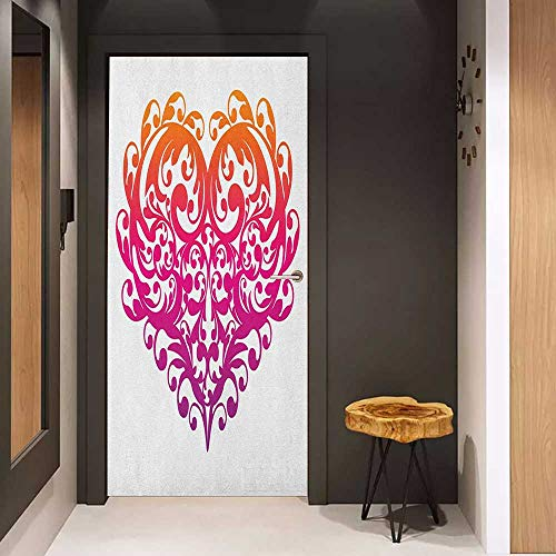 Soliciting Sticker for Door Orange and Pink Vibrant Abstract Heart with Ornament Pattern Swirls Curls Scroll Style Mural Wallpaper W23.6 x H78.7 Magenta Orange