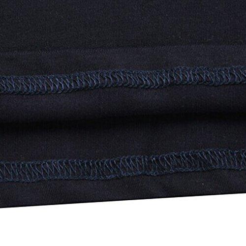 Honghu Herren Longsleeve Casual Urban Basic T-shirts Deep blue XL
