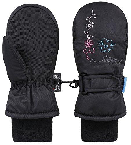 Livingston Girls Embroidery Waterproof Winter Ski Mittens, Black, Age4-6
