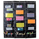 Black Whale Design Co Hanging File Folder Organizer Storage Pocket Chart 30 Large Pockets and 9 Office Accessory Pockets, Reinforced No Tear Seams in Gray (30 Pocket)