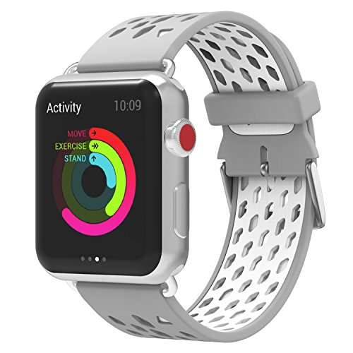 MoKo Band for Apple Watch 38mm Bands, Soft Silicone Rhombus Five-row Hole Replacement Sports Strap and Connector for iWatch 38mm series 3/2/1, Silver + White (Not fit 42mm Versions) by MoKo