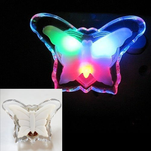 Estore Colorful Butterfly LED Night Lamp Color Changing plug-in Lights Nightlight for Kids Nursery Décor for Home Bedroom Decoration Gift