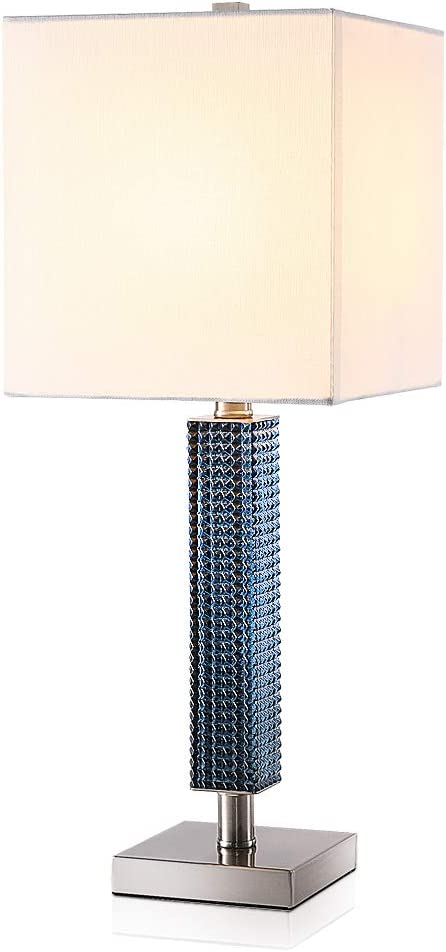 Modern Ocean Sea Blue Glass Table Lamp with White Square Textured Shade for Bedroom Bedside Nightstand Living Room 24 Inches-TEBLAMPUE (Silver)