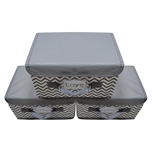 Kruideey Foldable Storage Box for Toy Storage Fabric Storage Bin Polyester Gift Basket Storage Works Storage Cube Box with Lid,3-Pack (Grey ) by Kruideey