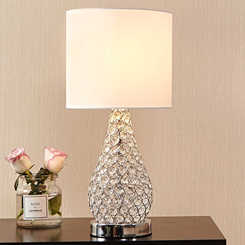 POPILION Alloy Crystal Base Livingroom Bedroom Bedside Table Lamp,Wide (Crystal Living Room Table)
