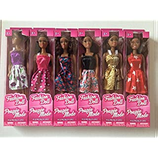 "African-American Fashion Dolls, 11"". Set of 6 with different clothes. Introduce them to your Barbie collection. Great favors for Birthday Party gifts. By TBC Home Decor."