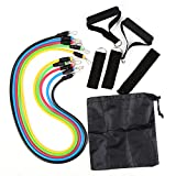 Doolland 11 Pieces Resistance Band Set with Exercise Tube Bands, Door Anchor, Ankle Straps and Carry Bag for Home, Gym and Outdoor Workouts