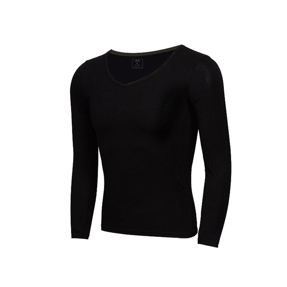 YiLianDa Uomo Intima Termica con Scollo A V Manica Lunga T Shirt Top Slim Camicetta Solido Scollo