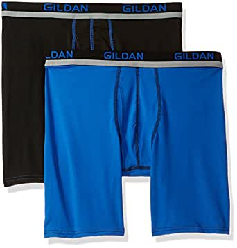 Gildan Mens Long Leg Stretch Polyester Athletic Boxer Briefs, 2-Pack Boxer Briefs - Multi - Small Black/Royal