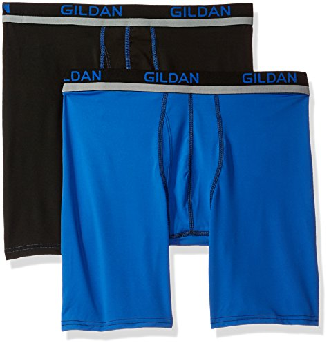 Gildan Men's Long Leg Stretch Polyester Athletic Boxer Briefs, 2-Pack, Black/Royal, (Poly Spandex)