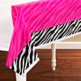 "Pink and Zebra Print Plastic Table Cover Party Tableware Decoration (1 Piece), Multi Color, 54"" x 102""."