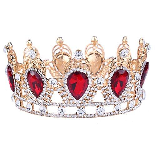 Santfe King Queen Red Ruby or Emerald Stone Rhinestone Crystal Teardrop Headband Tiara Crown]()