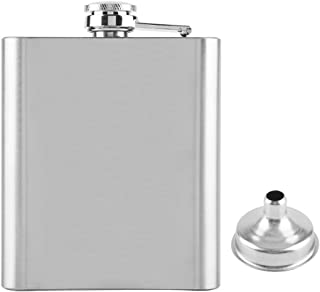 Socialme-EU Portable Licor Storage Bottle for Hip Flask with Funnel for Men 7/8/10 Ounce Stainless Silver Wine Chata 7Oz