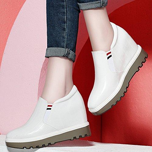 KPHY Zapatos Blancos Primavera Nuevo Cómodo El Aumento en Mujer Lok Fu Zapatos de Ocio Todo a Parche Grueso Solado Zapatos Mujer blanco