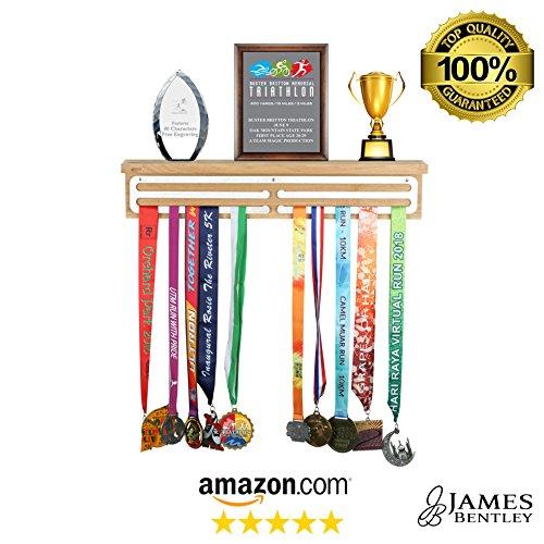 James Bentley 2 ft Award and Medal Display Hanger Rack | Hardwood & Stainless Steel Children Achievement Display Academic Display Trophy Shelf Sports Marathon Runner Plaque Shelf