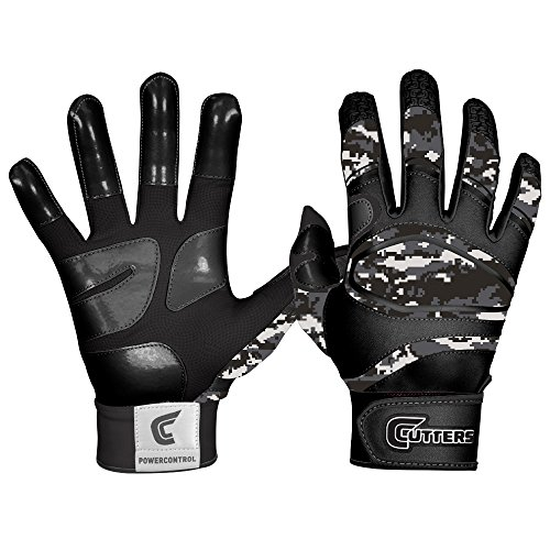 Cutters Gloves Power Control Gloves, Black/Camo, (Cutter Baseball Batting Gloves)