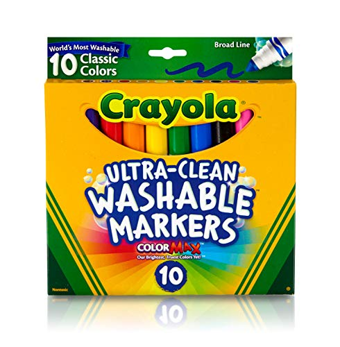 Crayola Ultra Clean Washable Markers, Broad Line, Classic Colors, 10 ()