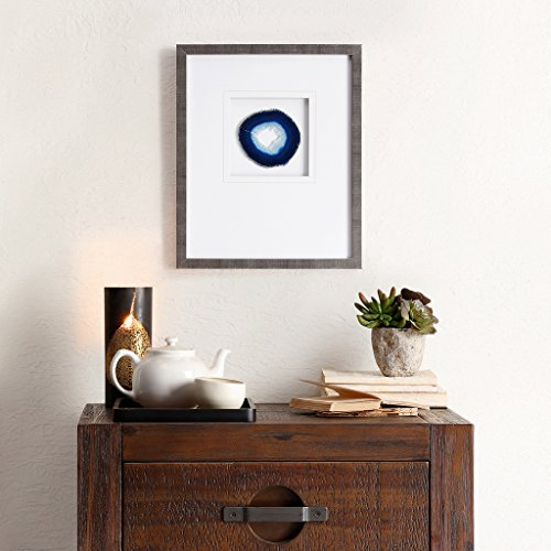 (Madison Park Blue Agate Framed Blue Canvas Wall Art 14X17, Global Inspired Wall Décor)
