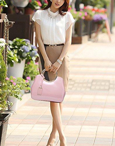 Cuir Femmes Shopping Mariage Soirée Main Tout 5 Taille 28 Sac Sac 10 Mauea CM a 22 Bandoulière Rose Vernis Fourre Mode Sac Elegant 6zwqXtA