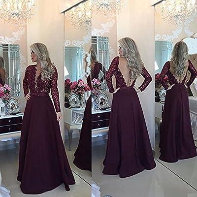 Promworld Women's V-Neck Evening Party Dress Lace Long Sleeve Prom Dresses