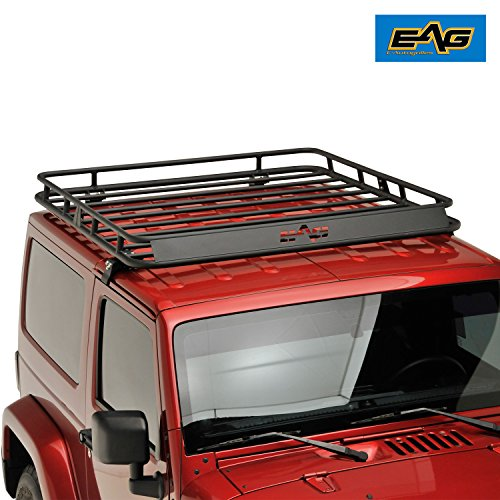 EAG Black Steel Roof Rack Cargo Basket for 2007-2018 Jeep Wrangler JK 2 / 4 Door (Jeep Wrangler Unlimited Hardtop)